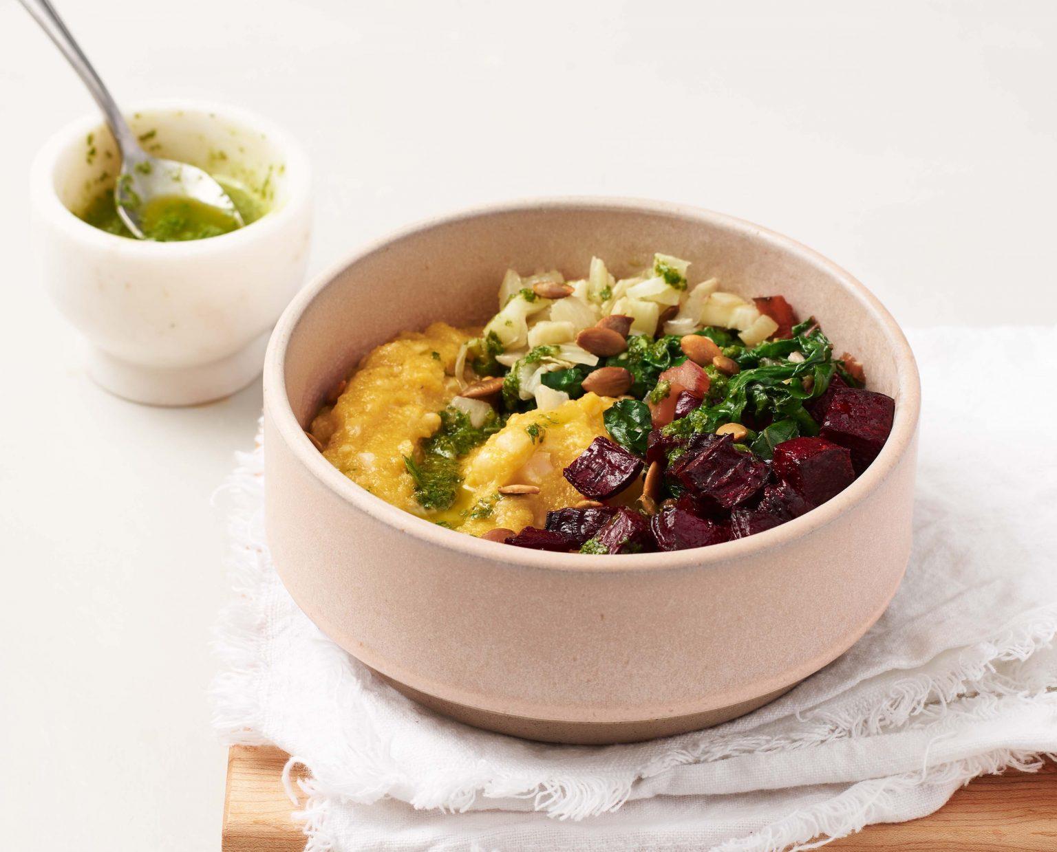 Vegan Cauliflower-Polenta Bowls with Greens