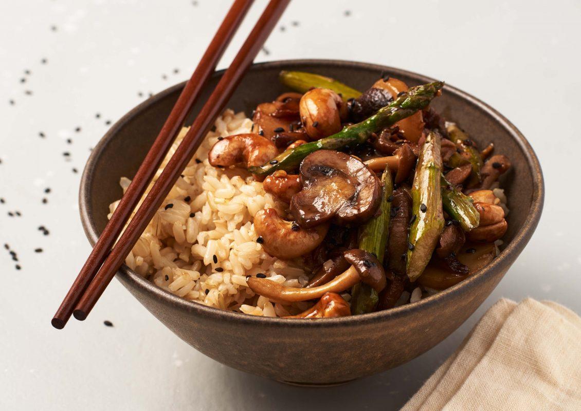Asparagus and Mushroom Stir-Fry Bowls [Vegan]