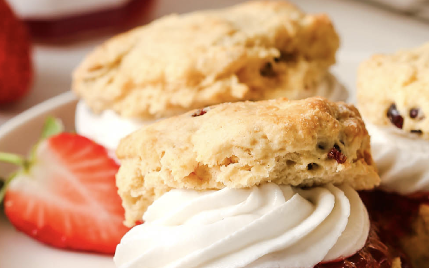 English scones with jam and whipped cream