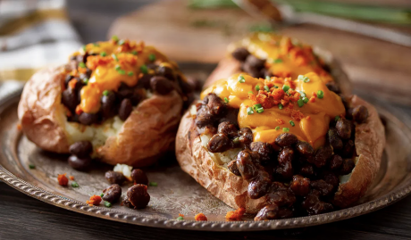 Vegan Cheesy Baked Potato & BBQ Beans