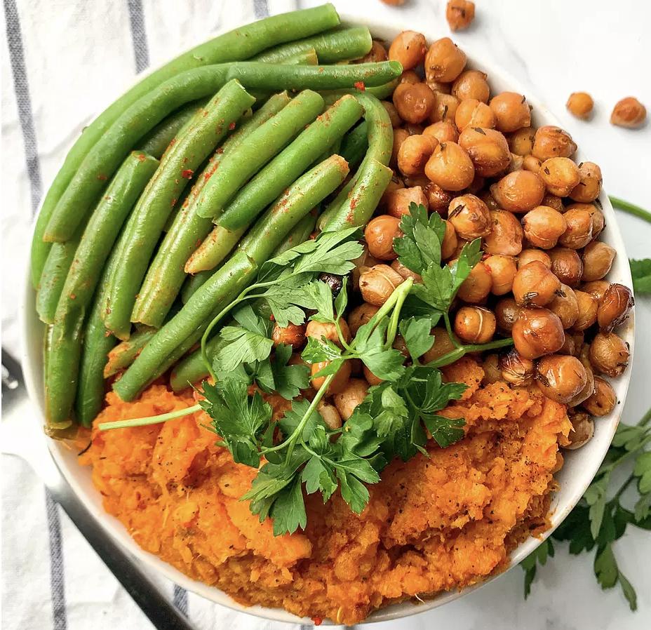 Smoked Sweet Potato and Green Bean Bowl [Vegan]