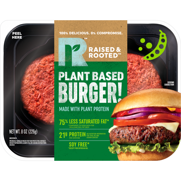raised and rooted burger