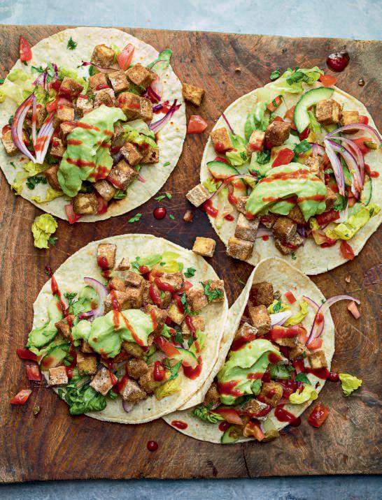 Vegan Crispy Tofu Tacos and Chopped Salsa Salad
