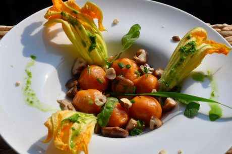 Potato Dumplings with Fresh Shiitake Mushrooms, Rocket Sauce, and Toasted Hazelnuts