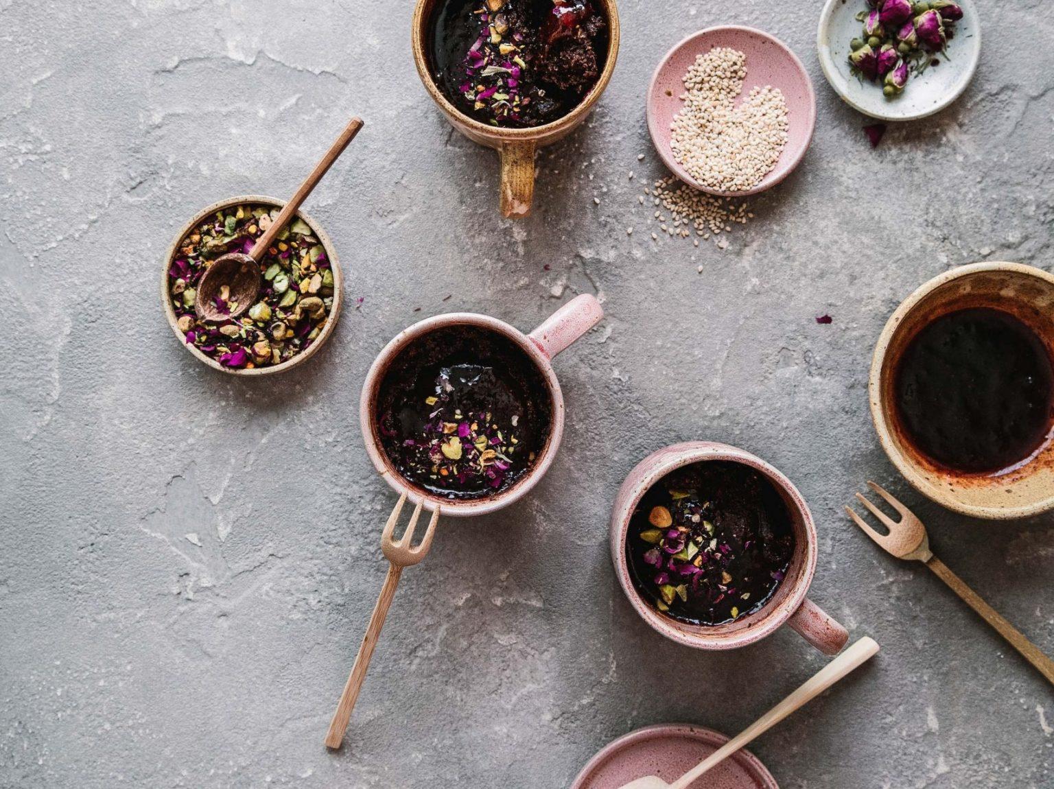 Vegan Fudgy Sesame Chocolate Mug Cake