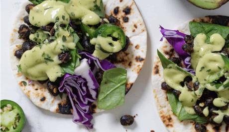 Black Bean Tacos with Avocado Dressing