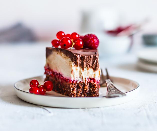 Vegan White and Dark Chocolate Cake with Raspberry Chia Jam