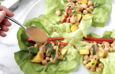 Chickpea Lettuce Wraps with Peanut Sauce