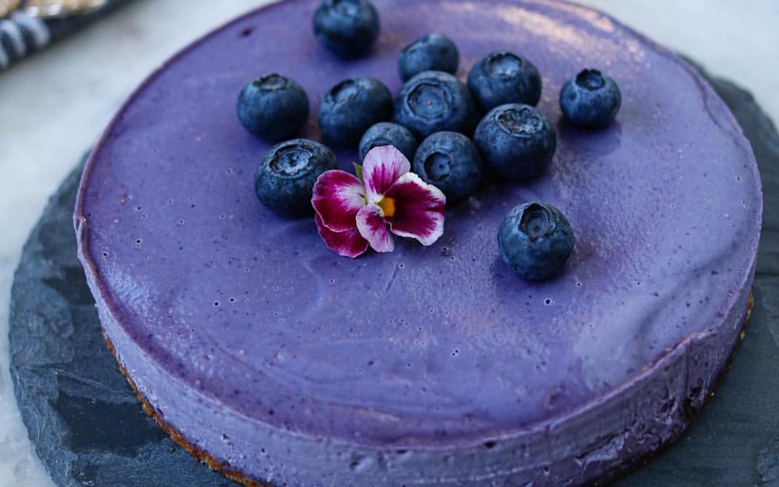 Silky Raw Blueberry Cashew Cake