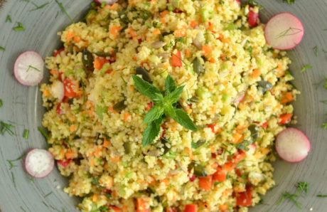 Crispy Salad with Couscous and Seeds