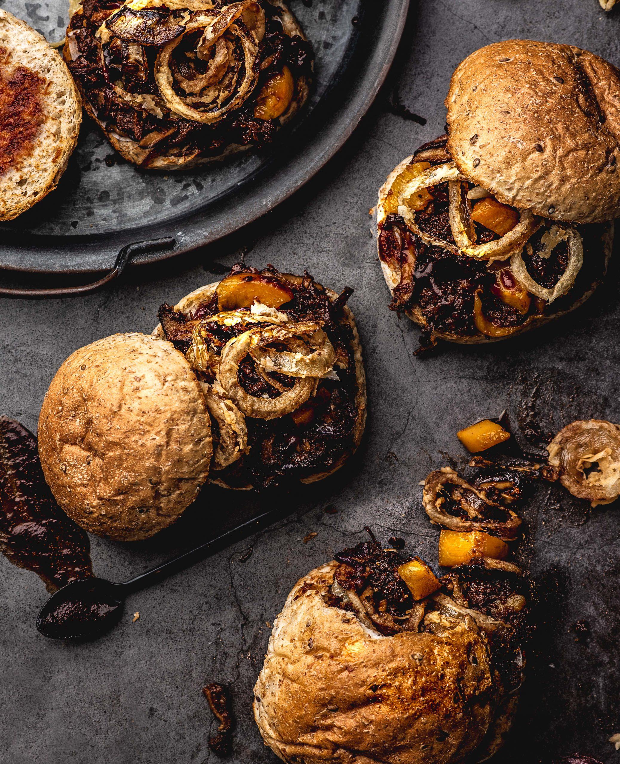 One-sheet BBQ Mushroom Jack 'n Peach Sandwiches