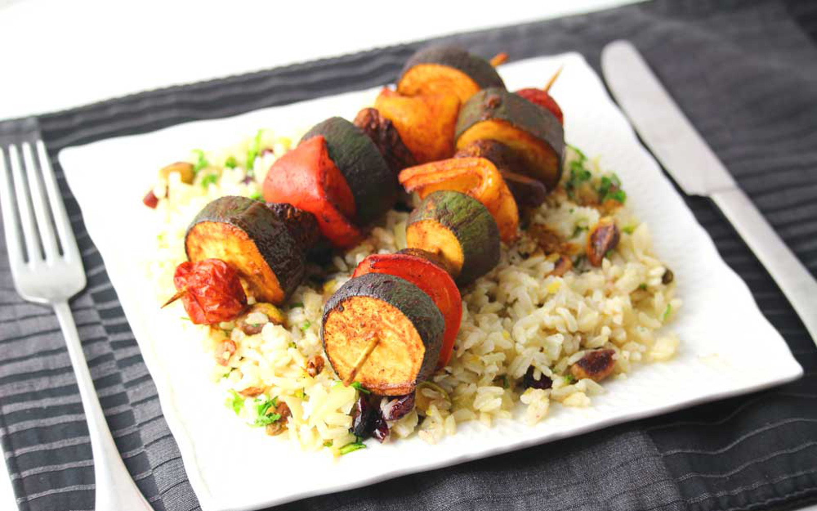 BBQ Veggie Skewers with loaded rice