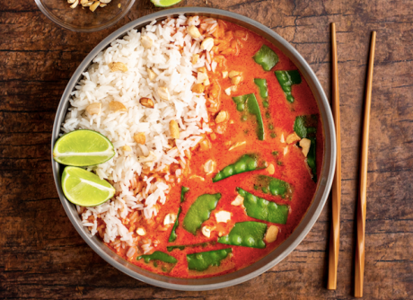 Simple Snow Peas with Red Curry Coconut Broth