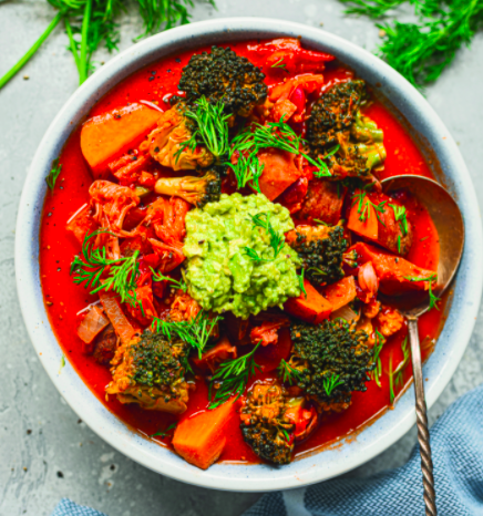 Vegan Sweet Potato and Jackfruit Coconut Soup