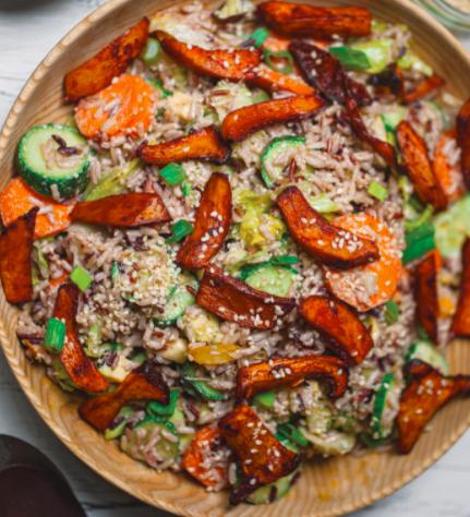 Vegan Wild Rice Salad with Mushroom Bacon