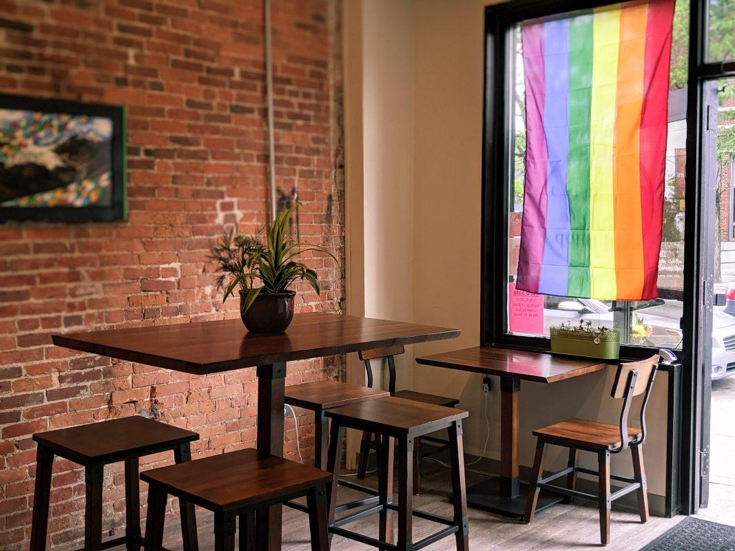 rainbow flag in restaurant