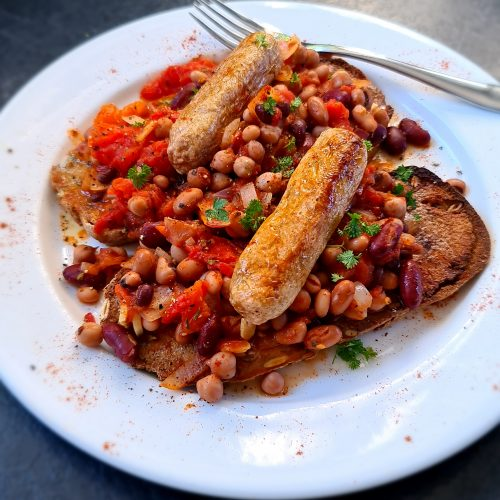 Vegan Sausage & Beans on Toast