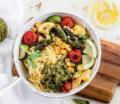 Roasted Summer Vegetable Pesto Pasta