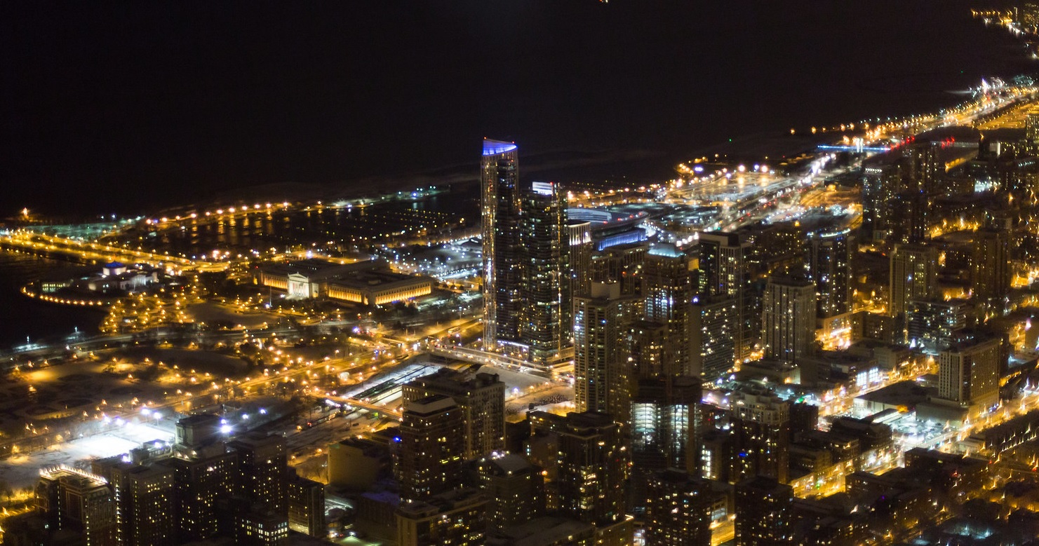 A bird's eye view of Chicago at night