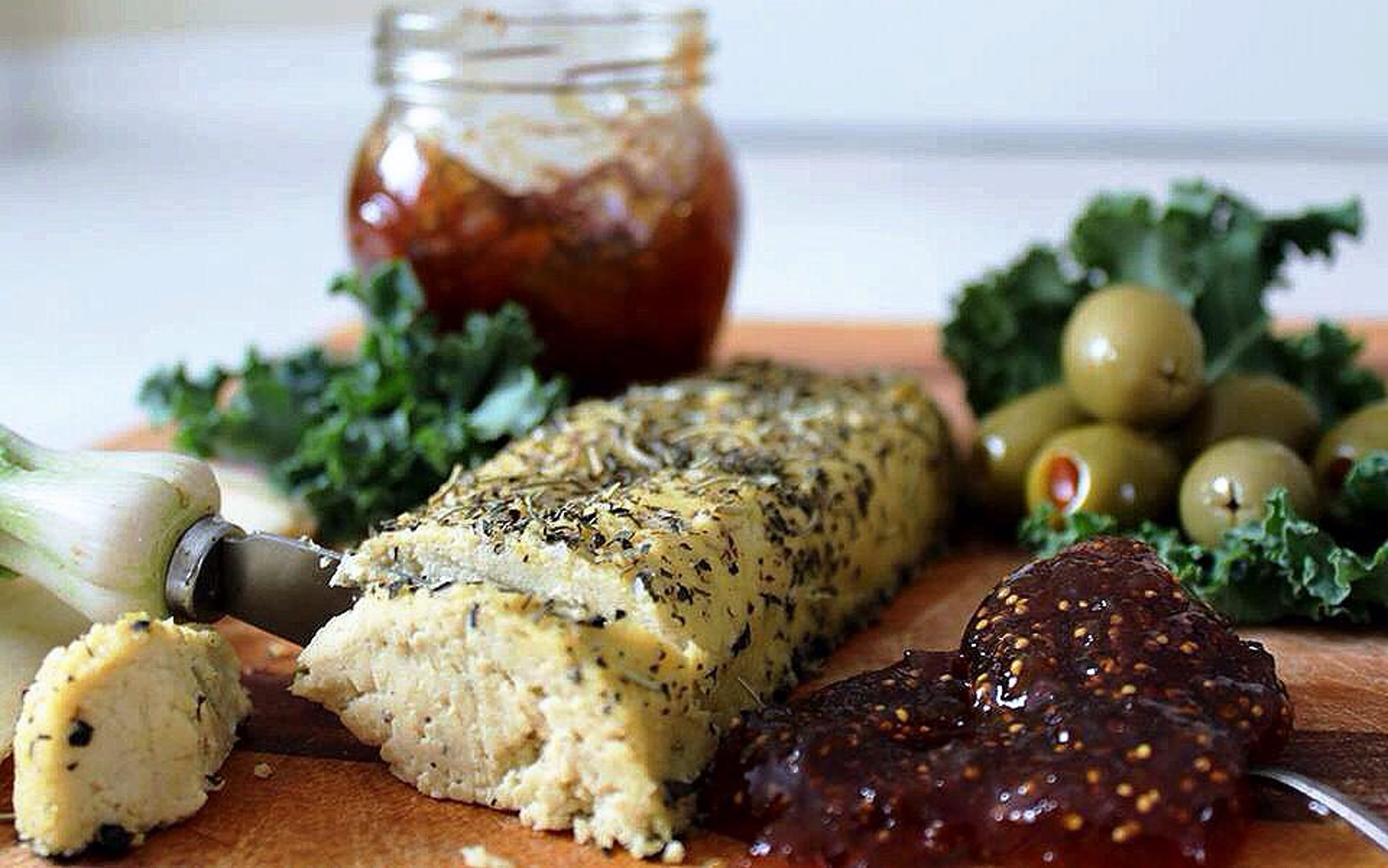 Decadent Baked Herb-Crusted Cashew Almond Cheese