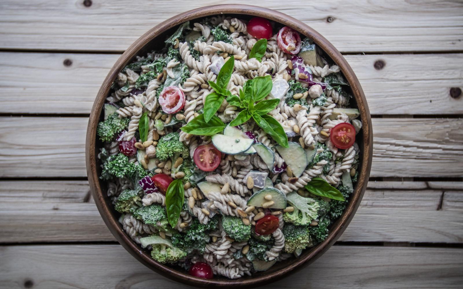 Garden Picnic Pasta Salad with Veggies, Herbs, and Orange-Miso Tahini Dressing