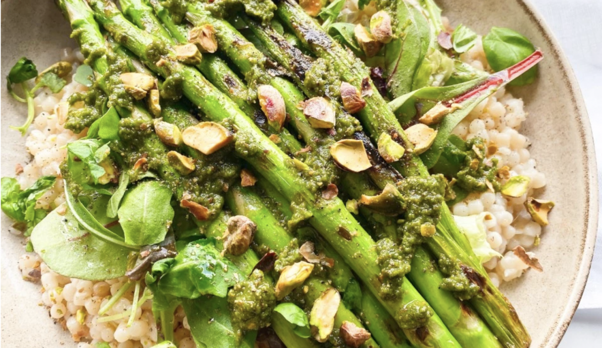 Vegan Roasted Asparagus with Pistachio Pesto and Pearl Couscous