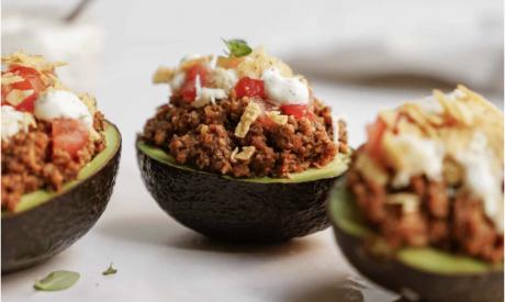 Vegan Taco Stuffed Avocado with Jalapeno Ranch