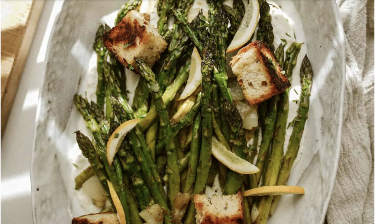 Vegan Greek Marinated Asparagus with Croutons and Whipped Feta