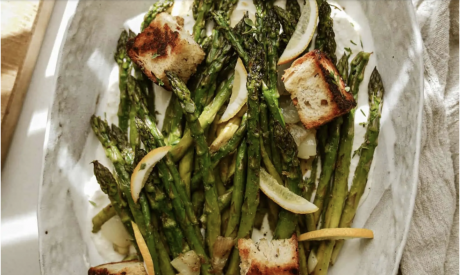 Greek Marinated Asparagus with Croutons and Whipped Feta
