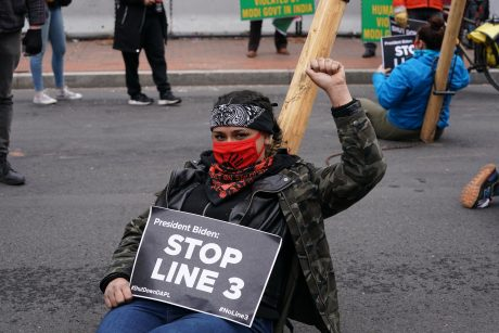 line 3 protestor
