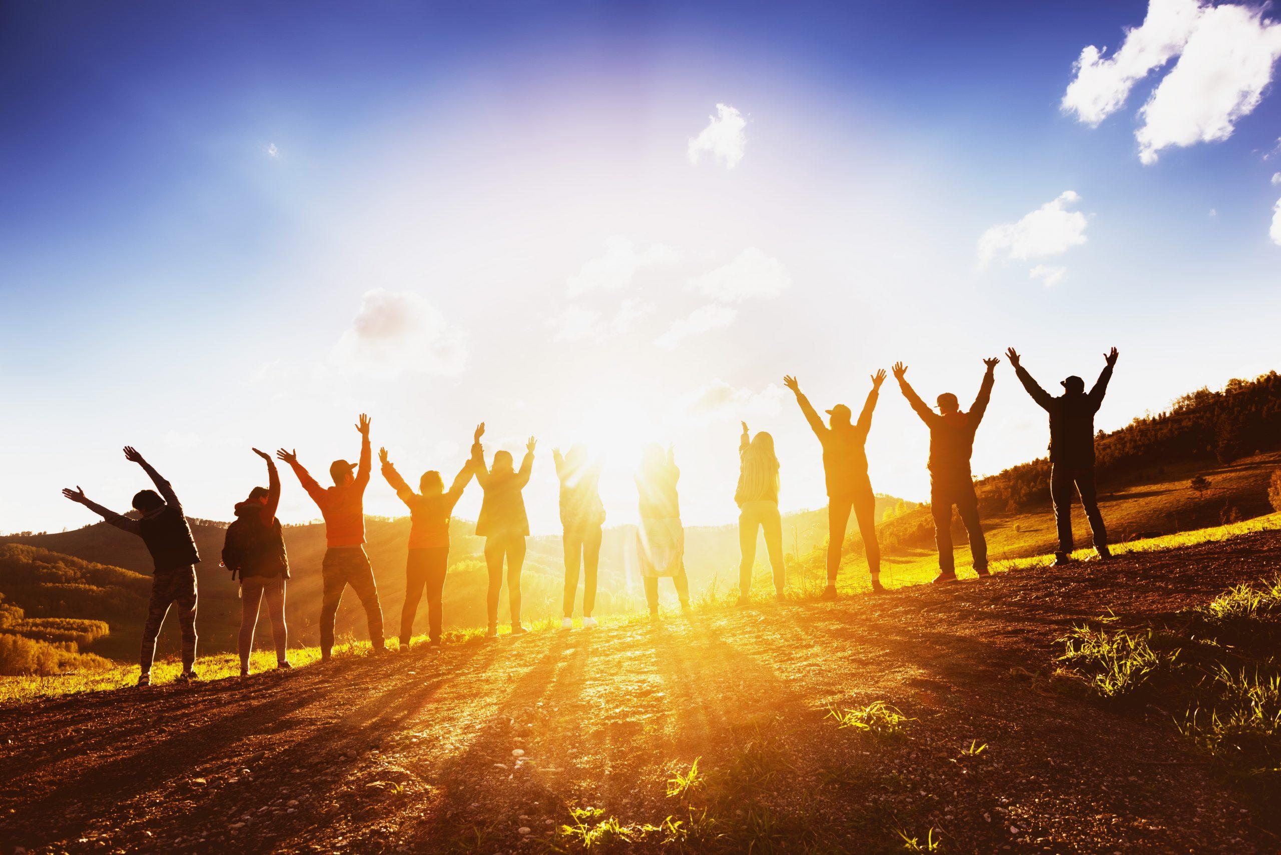 happy people in sun