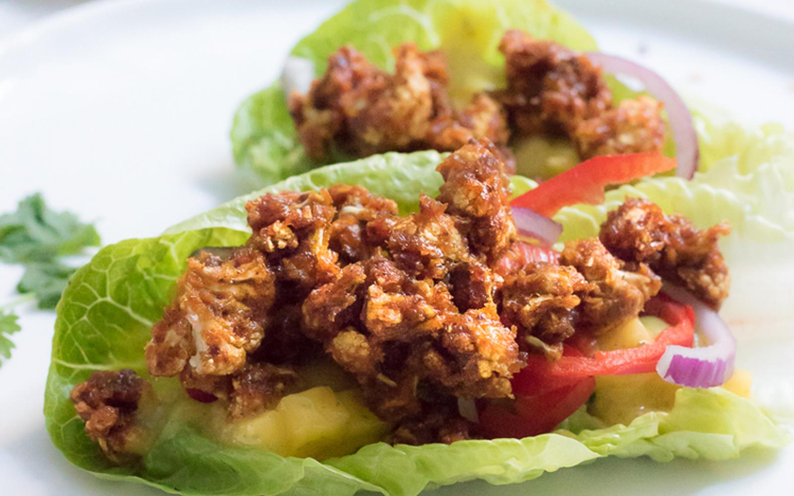 Raw Spicy Buffalo Cauliflower Tacos