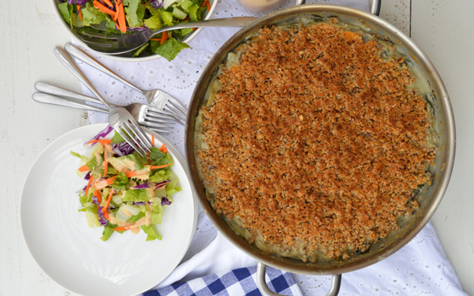 Vegetable Au Gratin Casserole With Oregano-Bean Puree