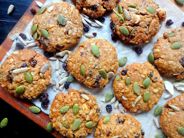 Vegan Mixed Seeds Nuts Oat Cookies