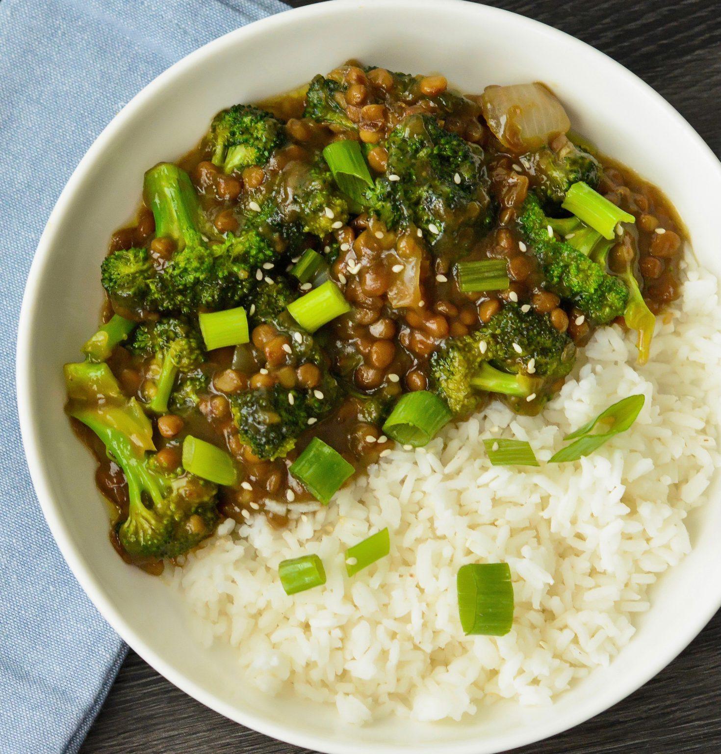Vegan Mongolian Lentils & Broccoli