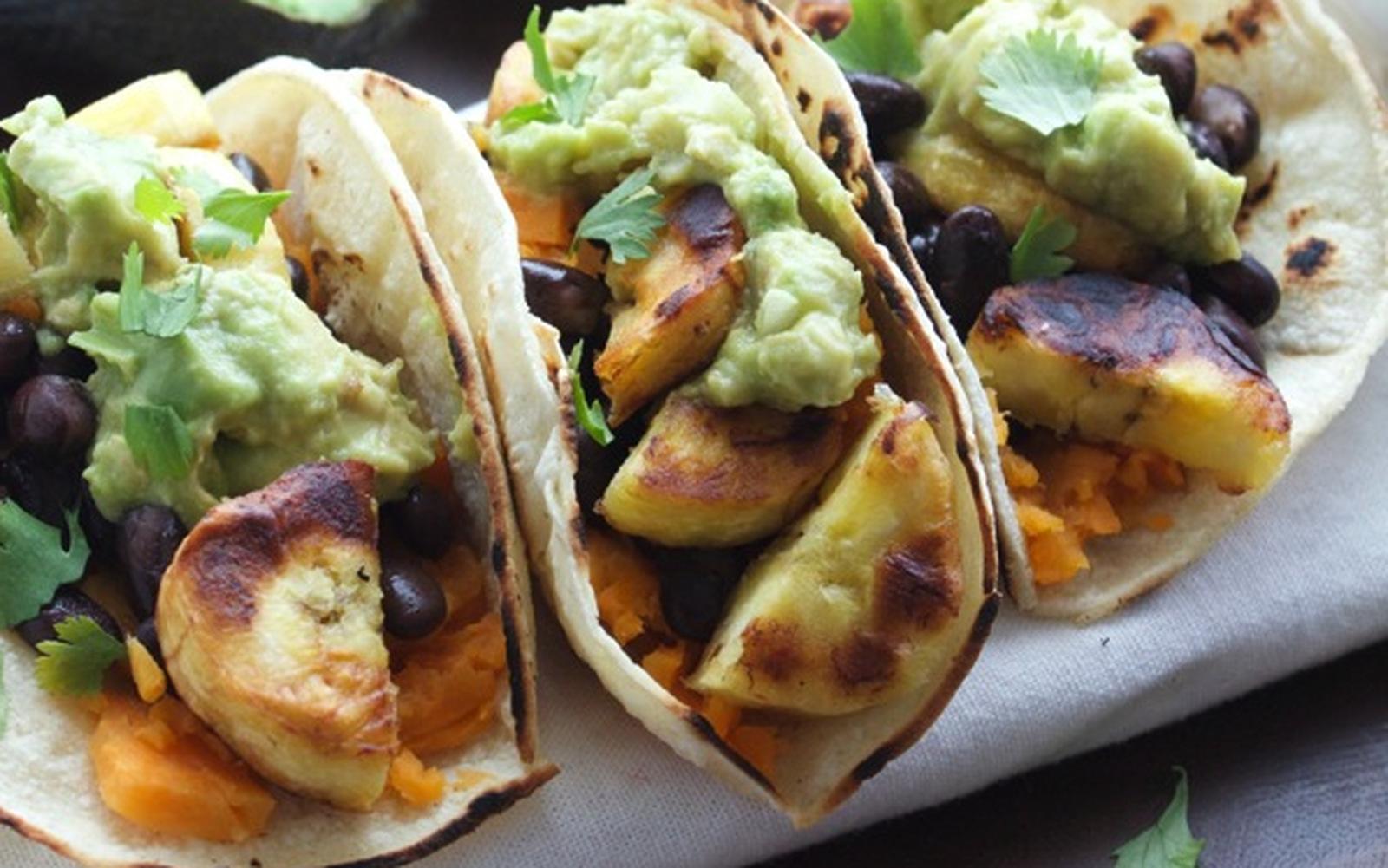 Plantain Sweet Potato Tacos With Guacamole