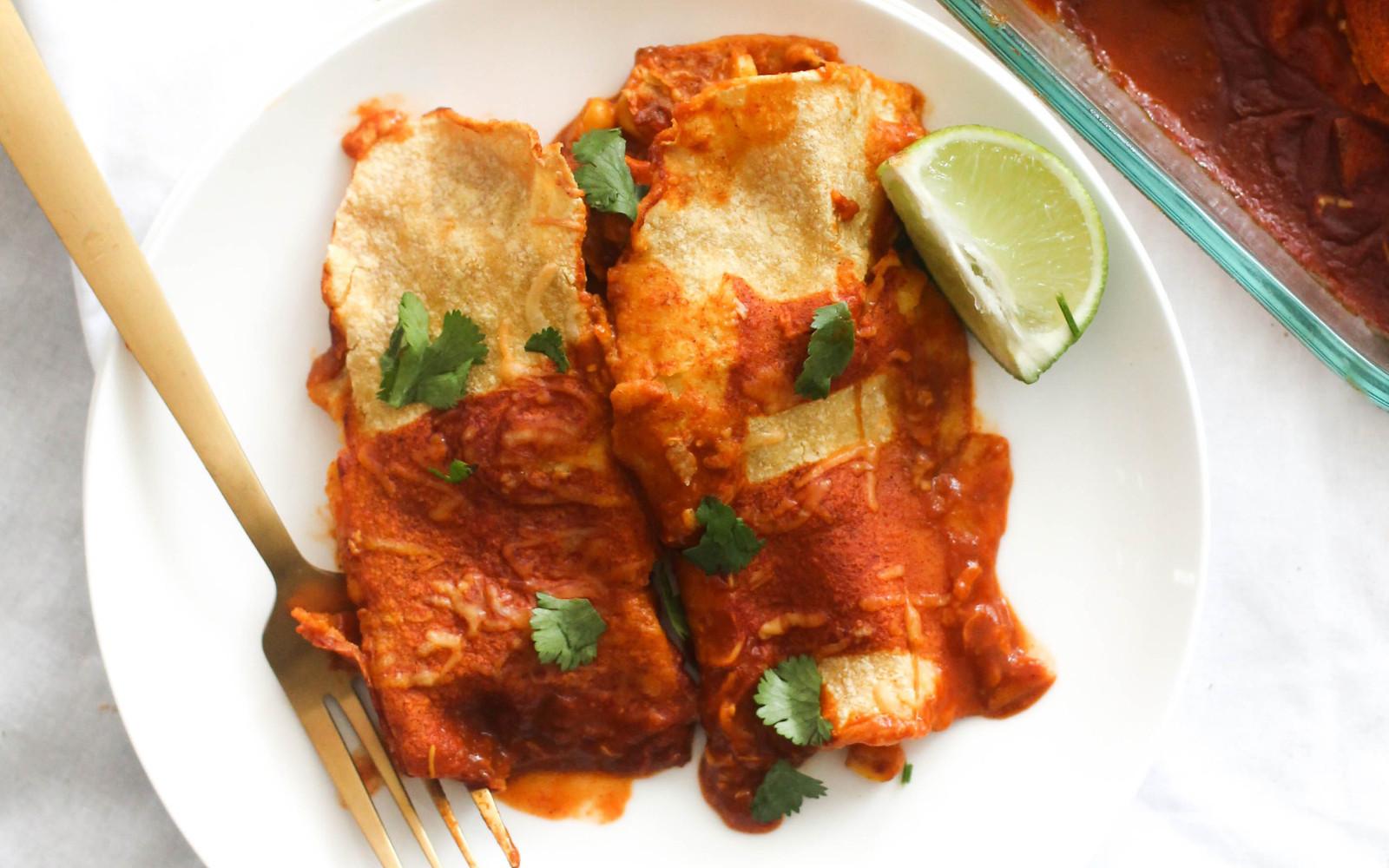Cheesy Roasted Corn and Sweet Potato Enchiladas