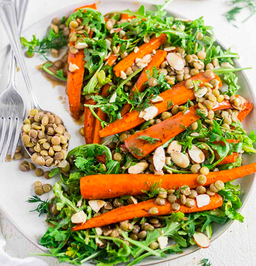 Roasted Carrot and Lentil Salad with Tahini Dressing