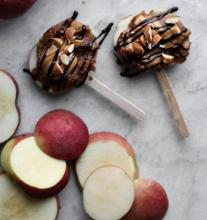 Healthy Caramel Peanut Butter Apple Slices