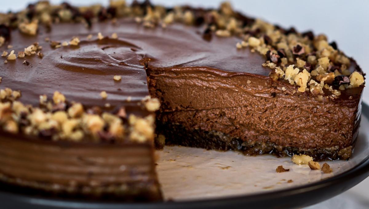 Vegan sweet potato and chocolate cheesecake